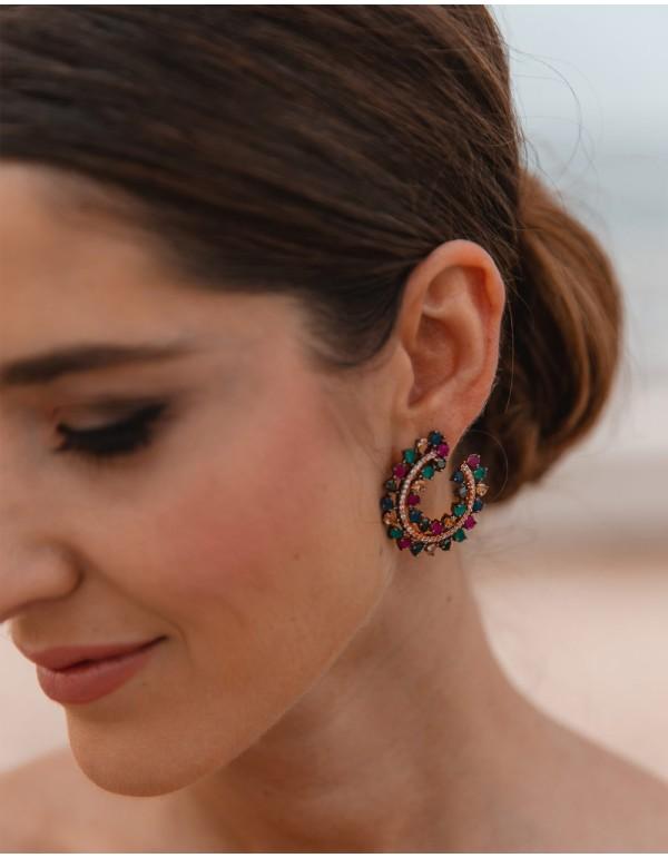 Natural stone earrings circular shape - INVITADA PERFECTA Bombay Sunset - 1
