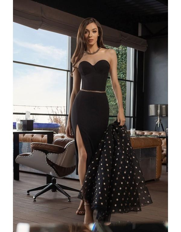 Vestido midi negro con falda superpuesta y escote corazón