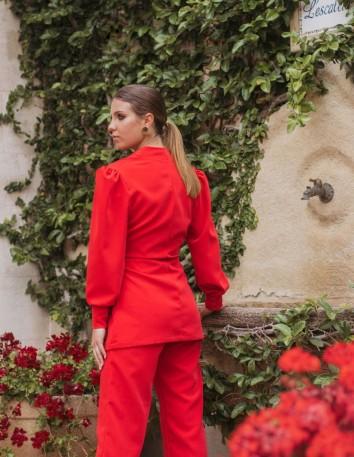 Pantalón rojo en tejido satén de p&roses para invitada
