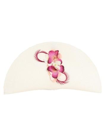 Cartera de rafia blanca con flores y plumas rosas para invitadas