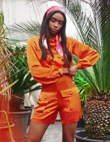 Orange satin crepe shorts for guests