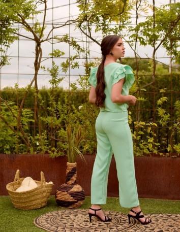 Pantalón verde agua ancho en crepé satín de P&Roses