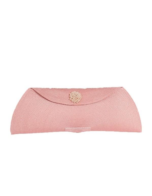 Cartera de rafia rosa nude y perlas como detalle D'nue For Ladies - 1