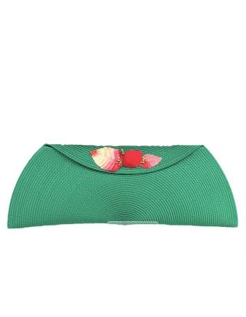 Cartera de rafia rectangular con broche floral con semillas