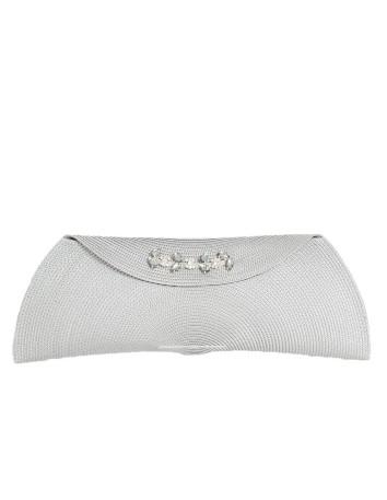 Clutch de rafia gris rectangular con broche de pedreria D'nue For Ladies - 1
