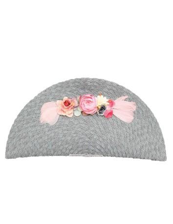 Gray raffia handbag with flowers in pink tones D'nue For Ladies - 1