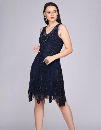 Vestido de cóctel azul marino con pedrería Gatsbylady London - 3