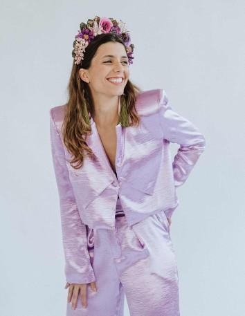 Lavender short jacket with lapel and fancy shoulder pads