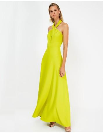 Vestido de fiesta largo con escote halter amarillo -3