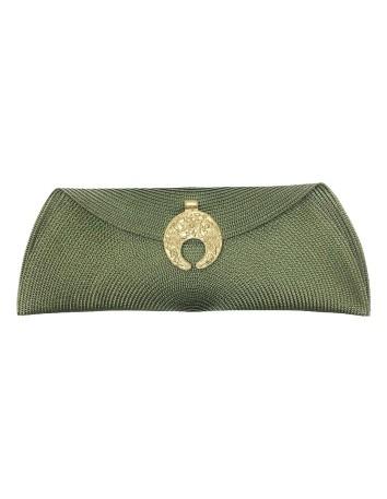 Raffia bag with moon-shaped shaft