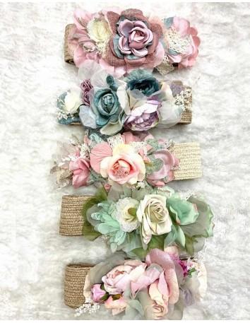 Raffia flower belt -...