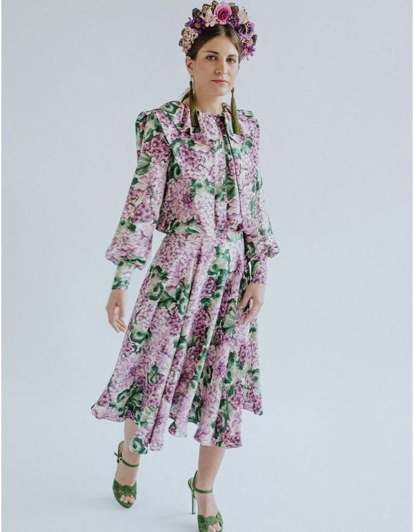 Falda midi con estampado floral para invitada