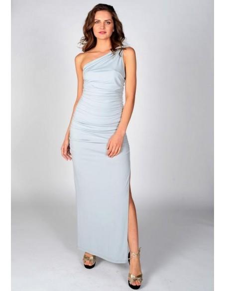 Vestido de fiesta largo gris perla con escote asimétrico - Angelina