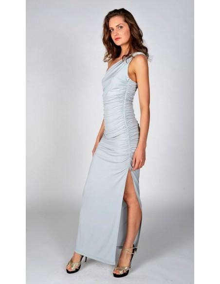 Vestido de fiesta largo gris perla con escote asimétrico - Angelina Revie London - 2