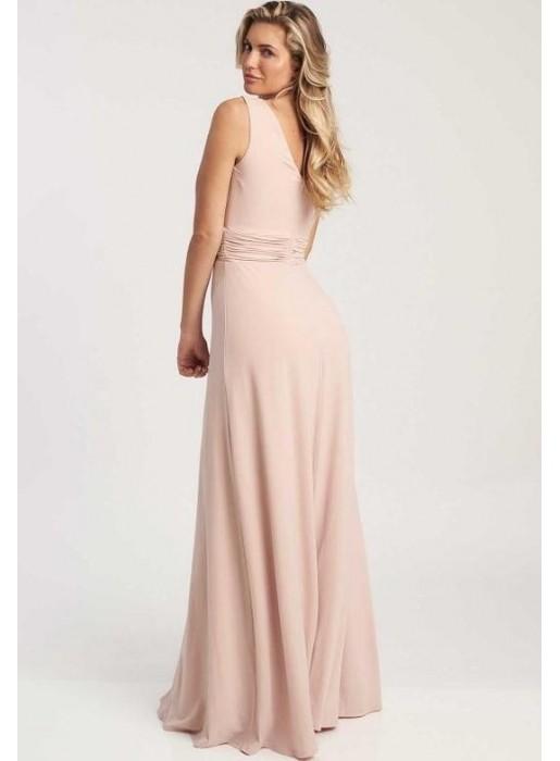 Vestido de fiesta largo rosa empolvado con escote en V - Lana Revie London - 1
