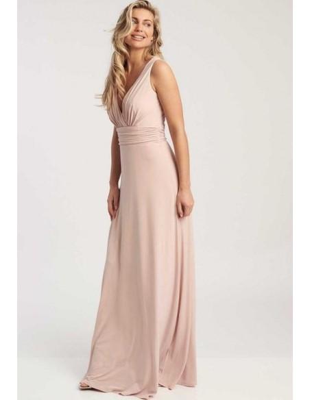 Vestido de fiesta largo rosa empolvado con escote en V - Lana Revie London - 2