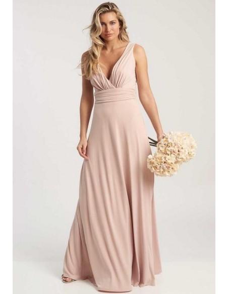 Vestido de fiesta largo rosa empolvado con escote en V - Lana Revie London - 3