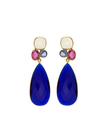 Pendientes de fiesta de piedras naturales azul cobalto Welowe - 1
