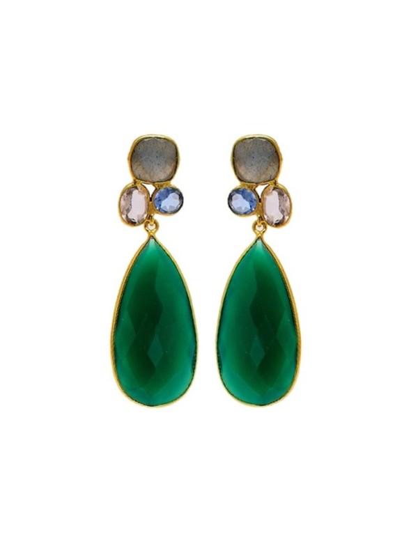 Pendientes de fiesta forma de lagrima verde esmeralda