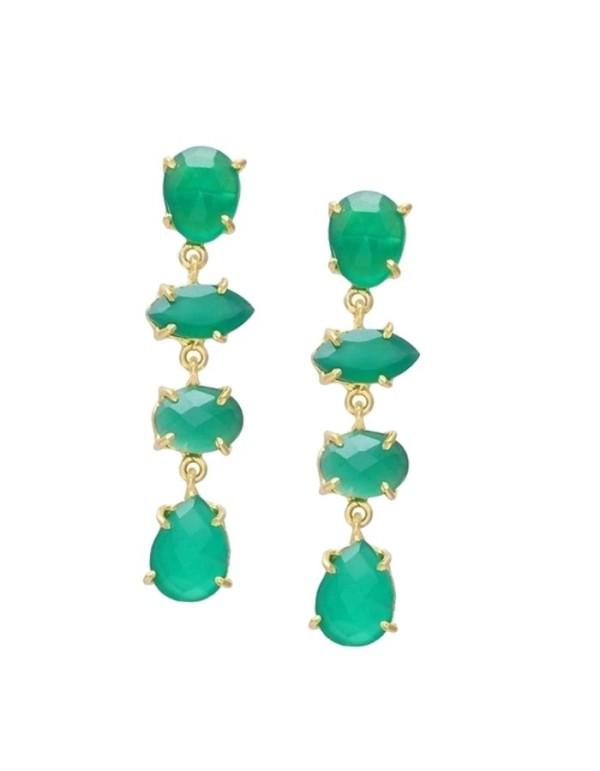 Women's earrings with green hydrothermal stones Welowe - 1