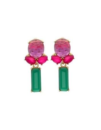 Aretes de mujer largos rosas y esmeralda Welowe - 1