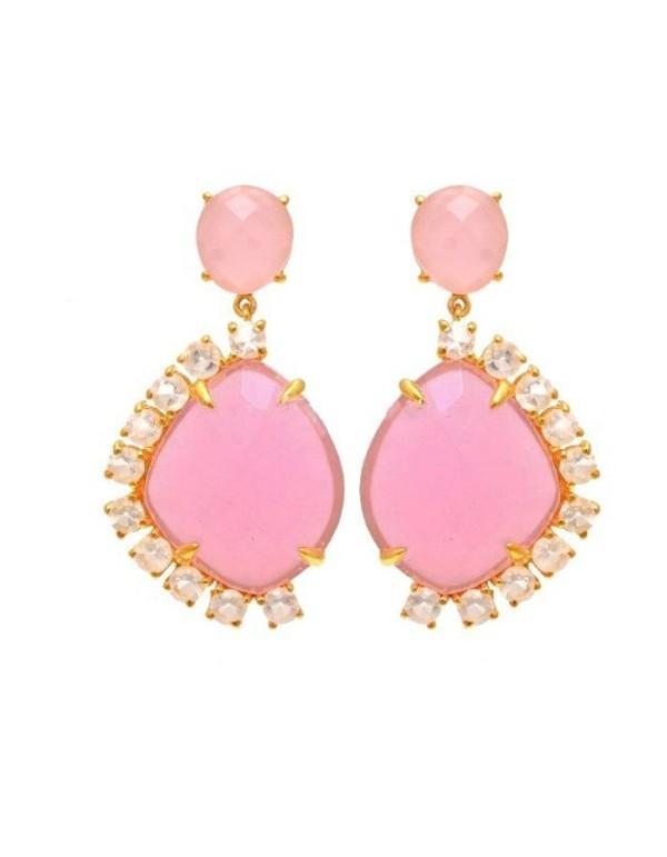 Pendientes mujer cuarzo y piedra lunar rosas Welowe - 1