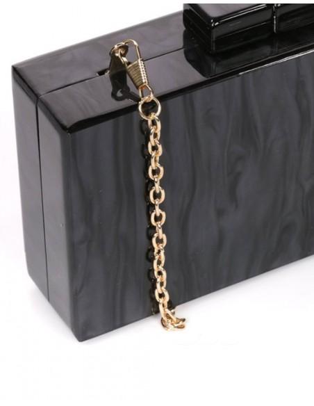 Pearly black clutch handbag