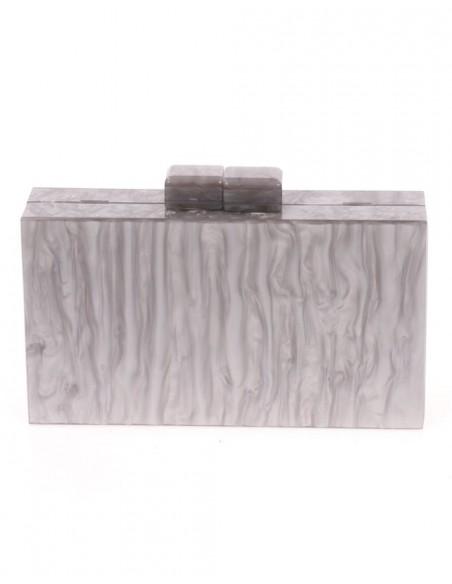 Bolso de fiesta nacarado gris plata-1