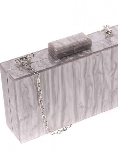 Bolso de fiesta nacarado gris plata-3