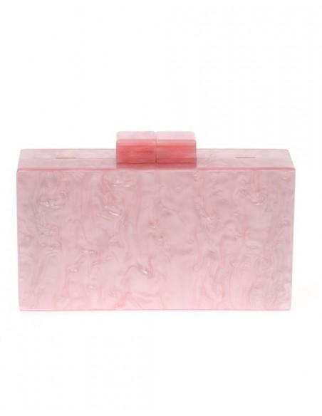 Pink pearlized clutch handbag
