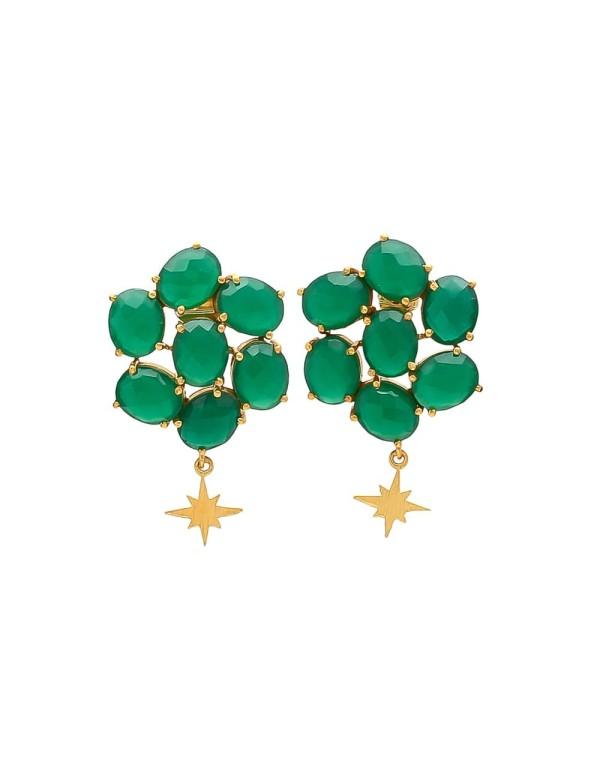 Women's onyx green andromeda earrings with little star Welowe - 1