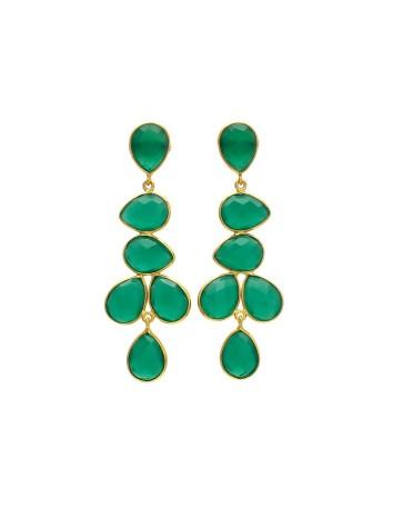 Pendientes de mujer largo de onyx verde Welowe - 1