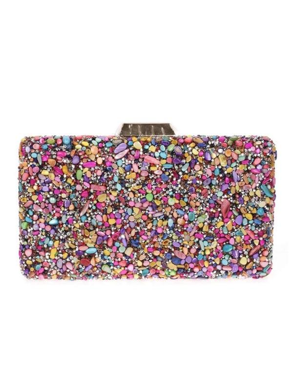 Bolso de fiesta de pedrería multicolor Lauren Lynn London Accessories - 1