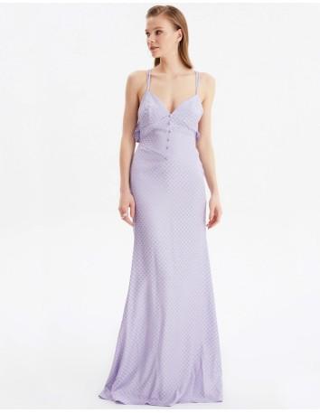 Vestido de fiesta largo lila con la espalda al aire-1
