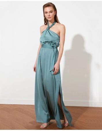 Vestido de fiesta de satén con escote halter Lauren Lynn London - 2