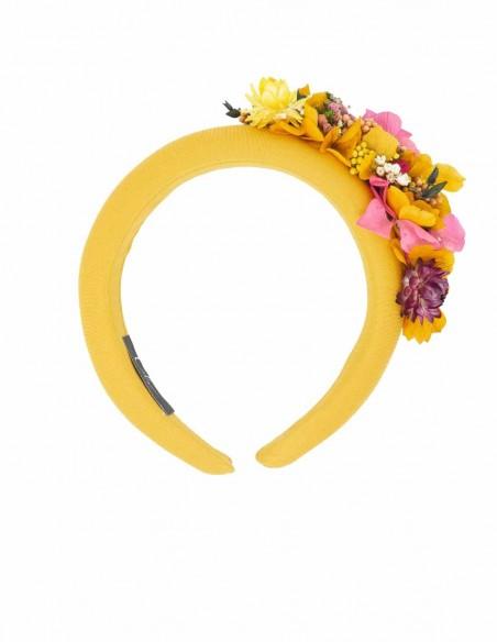 Mustard padded headband with preserved flowers – Amaya Cala by Lilian - 1