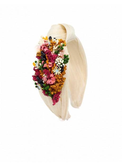 Diadema de flores naturales beige - Blanca Cala by Lilian - 1