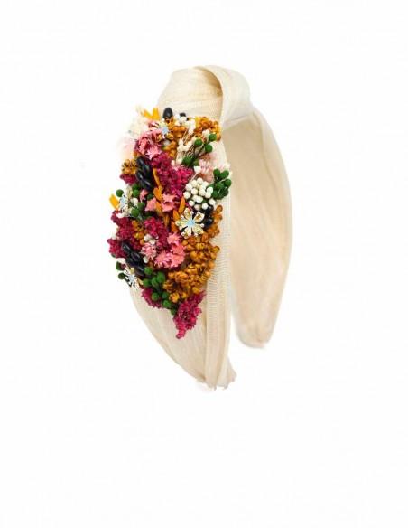 Beige natural flower headband - White Cala by Lilian - 1