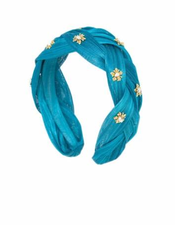 Diadema azul trenzada con adorno de flores doradas Cala by Lilian - 1