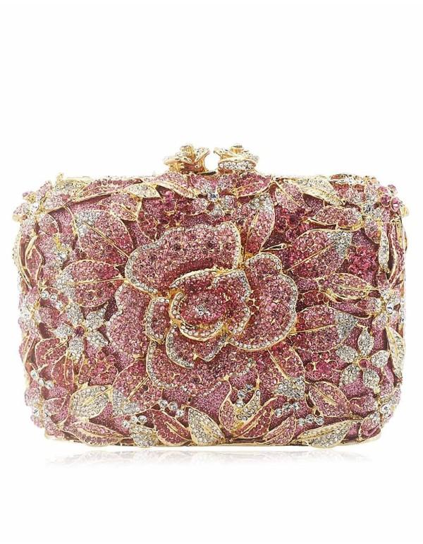 Bolso de fiesta joya con rosa de cristal Lauren Lynn London Accessories - 1