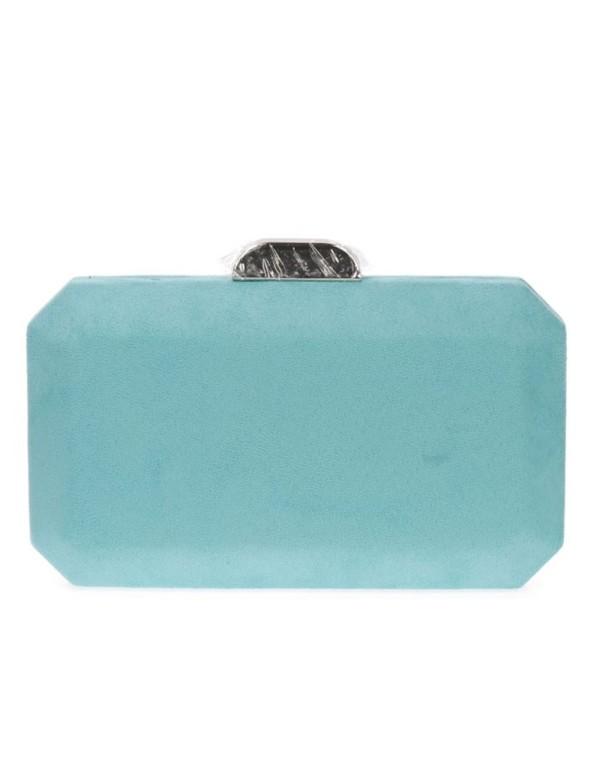 Suede octogonal clutch bag with metallic clasp Lauren Lynn London Accessories - 12