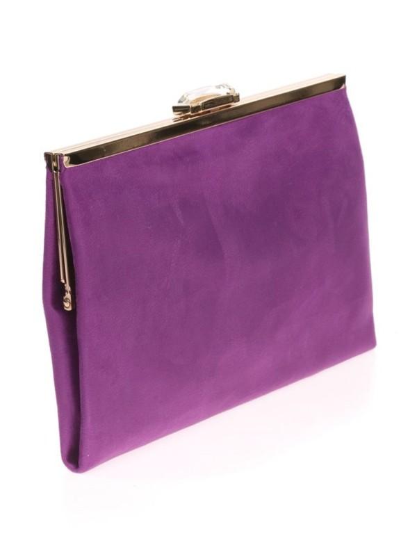 Suede party clutch with rhinestone fastening Lauren Lynn London Accessories - 14