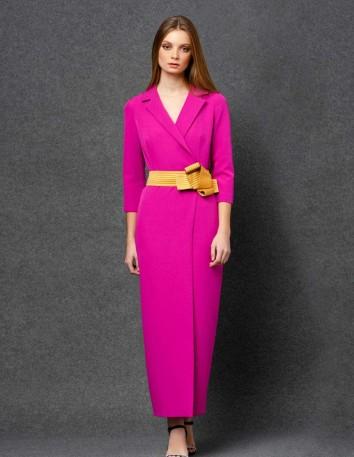 Vestido de fiesta largo estilo americana fucsia Nuribel - 1
