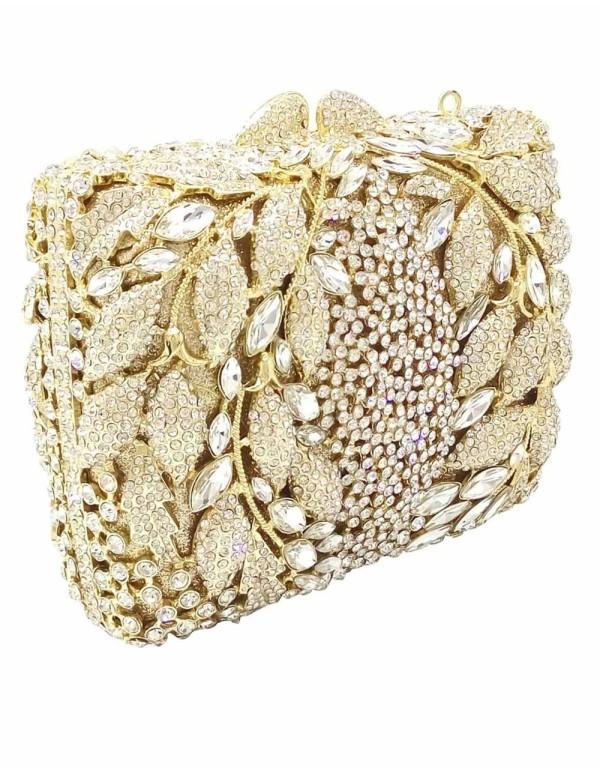 Gemstone and crystal clutch bag with leaf design