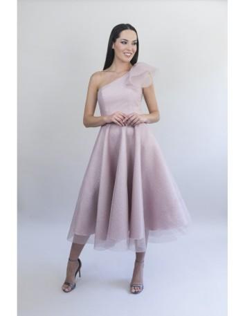 Midi party dress in shiny laminated organza