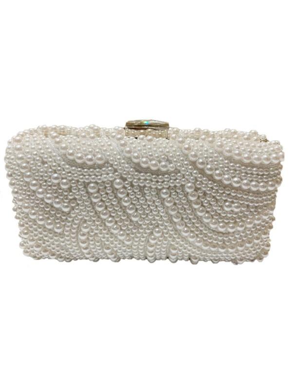 Bolso de fiesta con cierre joya y perlas