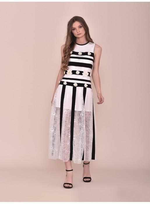 Midi black and white dress with daisies Nuribel - 1