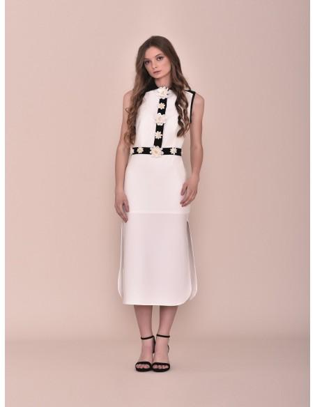 White midi dress with applications Nuribel - 1