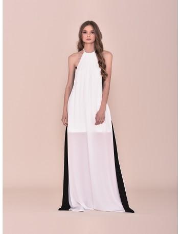 Vestido largo blanco con rayas negras y cuello halter Nuribel - 1