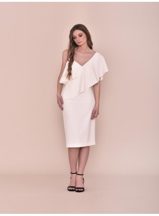 Vestido coctel con escote asimétrico de Nuribel